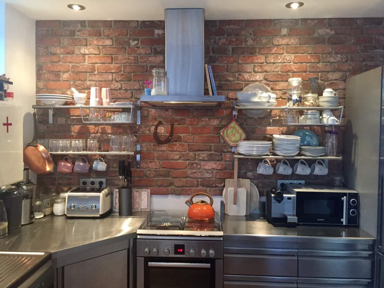 beaufiful küche aus klinkersteinen photos - loft mit beton und